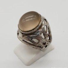 Jewelry - Anillo antiguo en plata de ley labrada y cincelada con cabujón de cuarzo natural incrustado . - 145126650