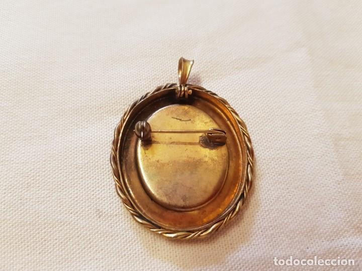Joyeria: Antiguo broche de porcelana pintado a mano engarzado en metal dorado,broche y colgante. - Foto 3 - 145161322