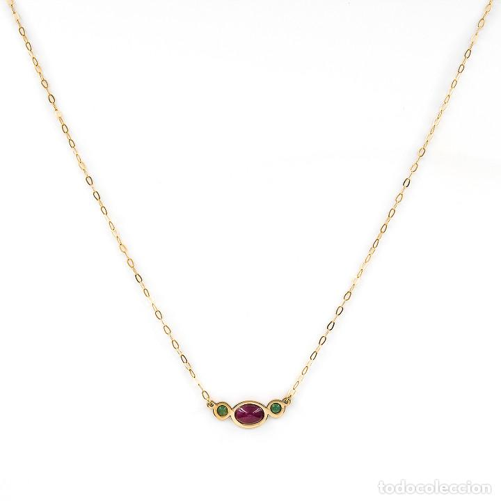 Joyeria: Collar y Colgante con Rubí y Esmeraldas en Oro de Ley 18k - Foto 2 - 236958735