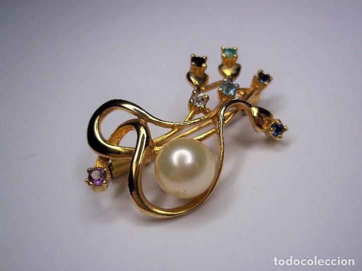 Joyeria: Vintage. Elegante broche con pedreria y perla japonesa. Años 80. Poco uso. ENVIO GRATIS. - Foto 2 - 146267442