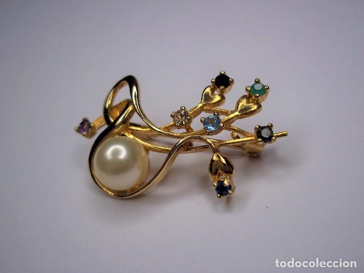 Joyeria: Vintage. Elegante broche con pedreria y perla japonesa. Años 80. Poco uso. ENVIO GRATIS. - Foto 4 - 146267442