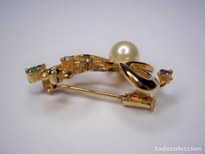 Joyeria: Vintage. Elegante broche con pedreria y perla japonesa. Años 80. Poco uso. ENVIO GRATIS. - Foto 5 - 146267442