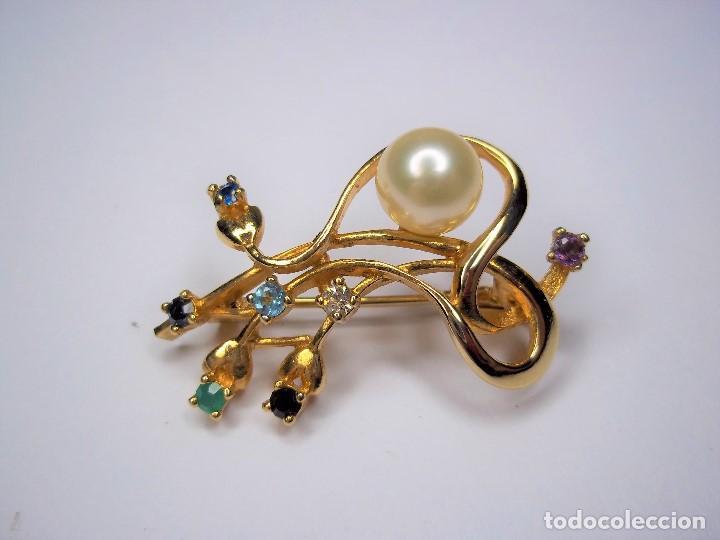 Joyeria: Vintage. Elegante broche con pedreria y perla japonesa. Años 80. Poco uso. ENVIO GRATIS. - Foto 6 - 146267442