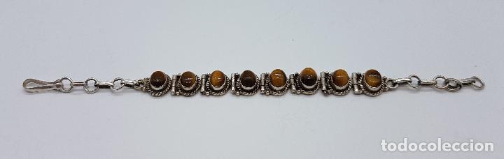 Joyeria: Preciosa pulsera antigua en plata de ley contrastada con cabujones de ojo de tigre auténticos - Foto 2 - 146684150