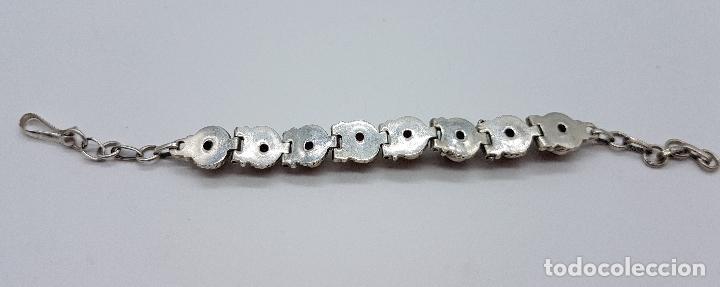 Joyeria: Preciosa pulsera antigua en plata de ley contrastada con cabujones de ojo de tigre auténticos - Foto 3 - 146684150