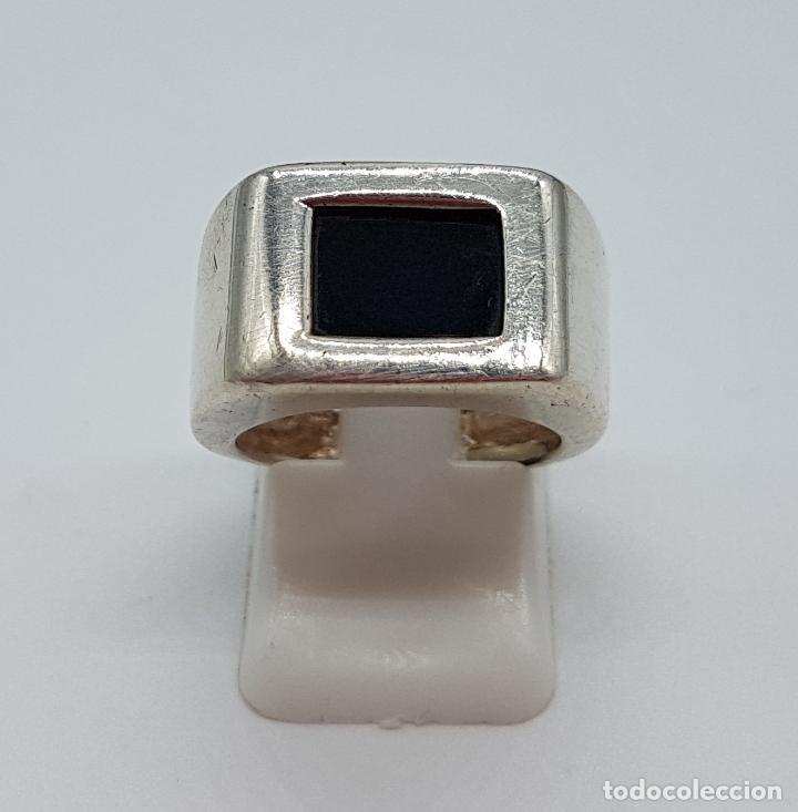 Joyeria: Excelente anillo antiguo estilo art deco en plata de ley contrastada con azabache incrustado. - Foto 2 - 146694286