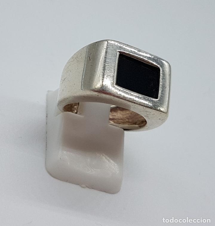 Joyeria: Excelente anillo antiguo estilo art deco en plata de ley contrastada con azabache incrustado. - Foto 3 - 146694286