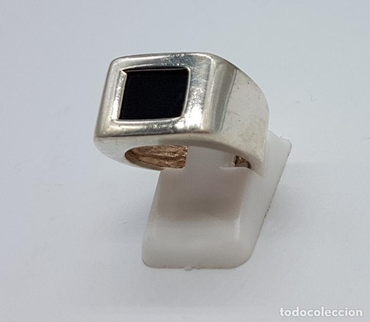 Joyeria: Excelente anillo antiguo estilo art deco en plata de ley contrastada con azabache incrustado. - Foto 4 - 146694286