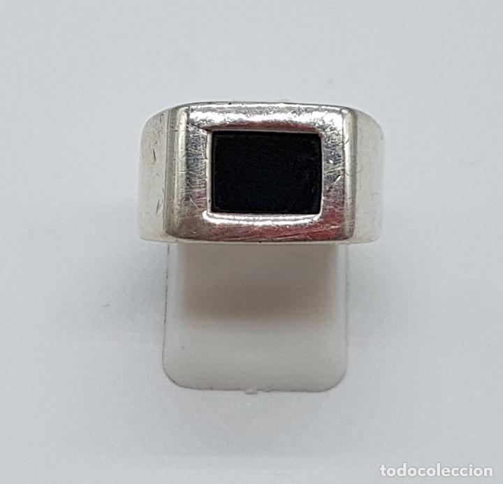 Joyeria: Excelente anillo antiguo estilo art deco en plata de ley contrastada con azabache incrustado. - Foto 5 - 146694286