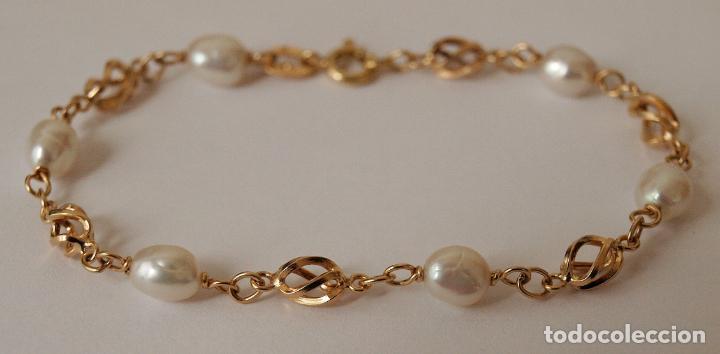 9c6eb1582ab3 pulsera de oro de 18 kilates y perlas cultivada - Comprar Pulseras ...