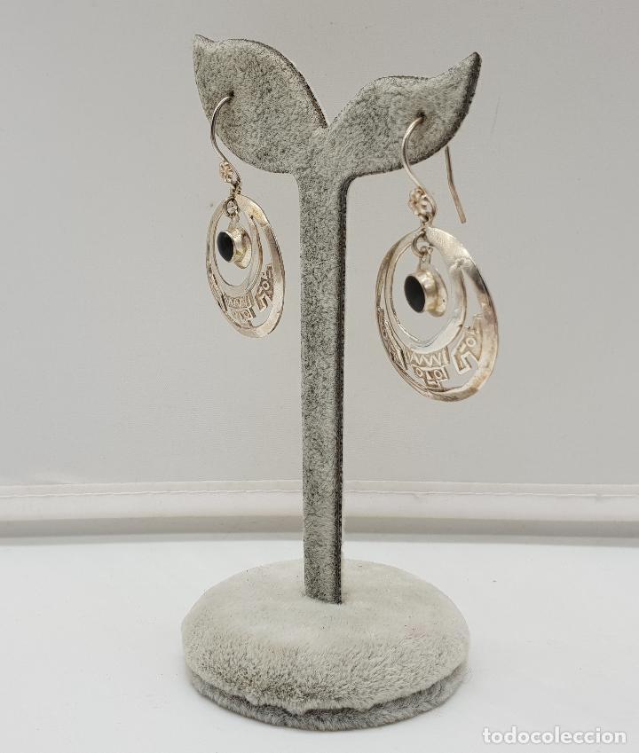 Joyeria: Pendientes antiguos en plata de ley contrastada 950 de diseño azteca con azabaches incrustados . - Foto 2 - 146944938