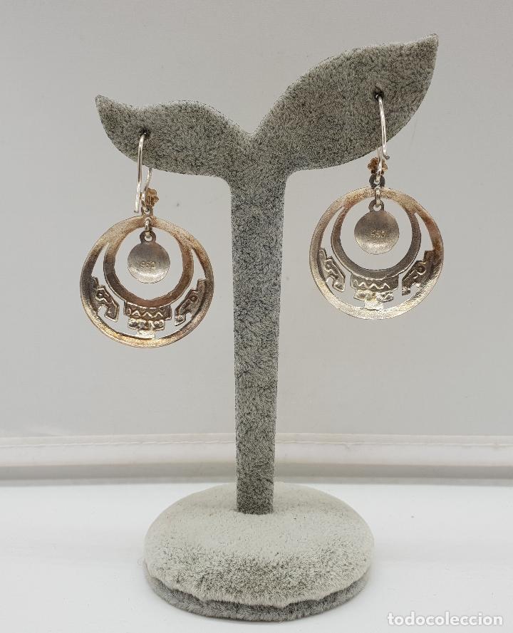 Joyeria: Pendientes antiguos en plata de ley contrastada 950 de diseño azteca con azabaches incrustados . - Foto 3 - 146944938