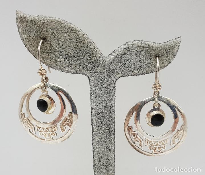 Joyeria: Pendientes antiguos en plata de ley contrastada 950 de diseño azteca con azabaches incrustados . - Foto 6 - 146944938