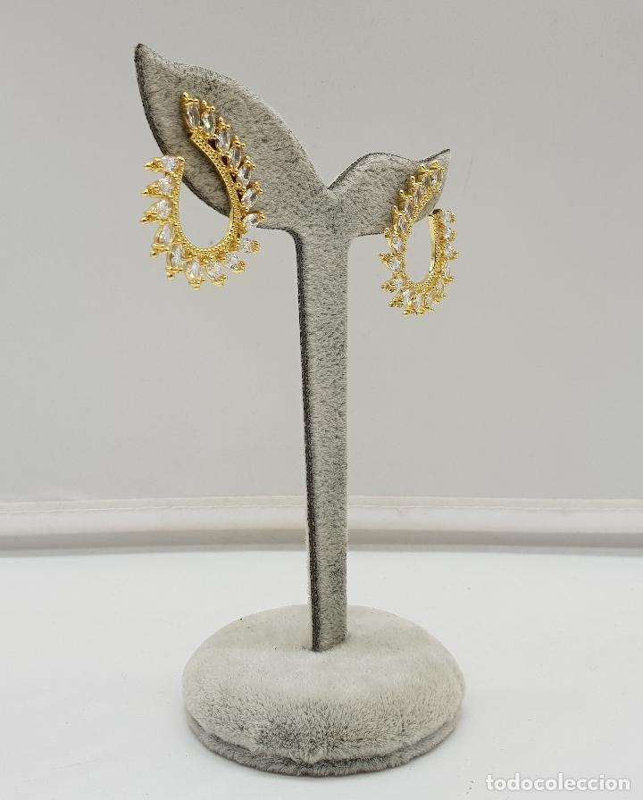 Joyeria: Pendientes de lujo tipo nupcial con acabado en oro de 18k y circonitas talla marqués engarzadas . - Foto 6 - 146945518