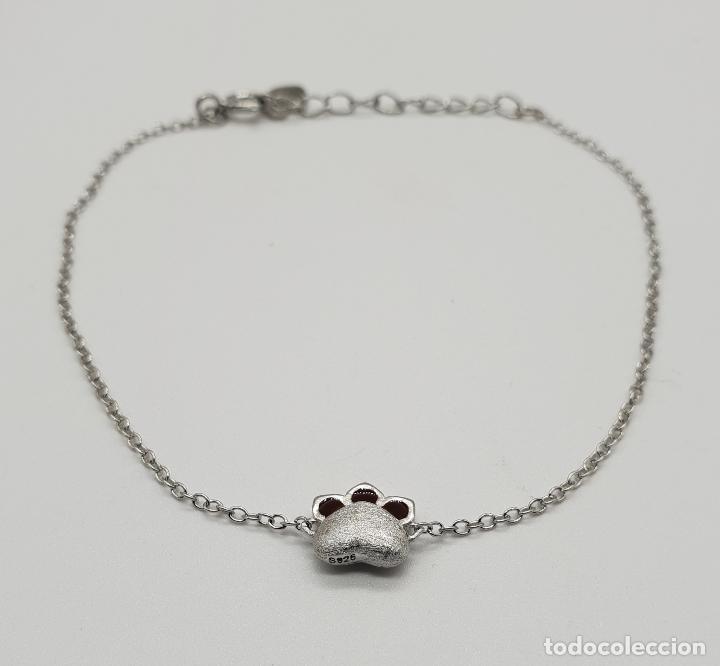 Joyeria: Bella pulsera en plata de ley contrastada con huella de perro, gato o mascota parcialmente esmaltada - Foto 2 - 146948590
