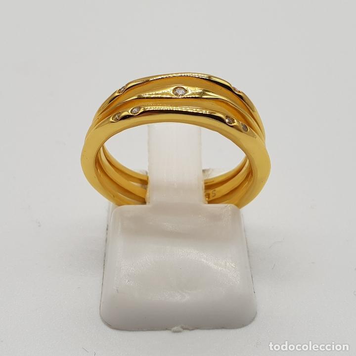 Joyeria: Elegante y sofisticado anillo tipo alianza en plata de ley chapado en oro de 18k y circonitas . - Foto 3 - 146949510