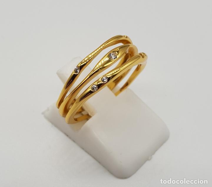 Joyeria: Elegante y sofisticado anillo tipo alianza en plata de ley chapado en oro de 18k y circonitas . - Foto 4 - 146949510