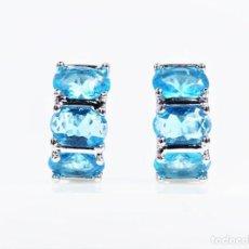 Joyeria - Pendientes tipo aro en plata 925 con topacios azules engastados - 147414674