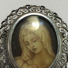 Joyeria: BROCHE DE PLATA CON VIRGEN MARÍA PINTADO A MANO Y FIRMADA MG EN PLATA ANTIGUO. Lote 147459358