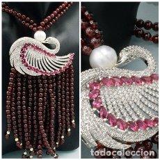 Jewelry - ELEGANTE COLLAR DE BELLOS GRANATES NATURALES, PERLA CULTIVADA 10MM Y CISNE SWAROVSKI - 108CM - 146803274