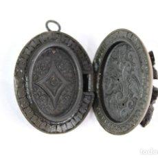 Jewelry - Precioso guardapelo alfonsino de ébano relicario delicado trabajo interior vea dentro - 147909010