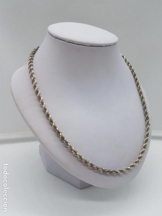 Joyeria: Antigua cadena de cordon trenzado en plata de ley contrastada unisex. - Foto 2 - 174659918