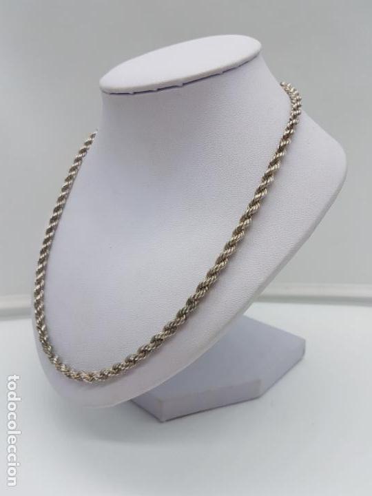 Joyeria: Antigua cadena de cordon trenzado en plata de ley contrastada unisex. - Foto 3 - 174659918