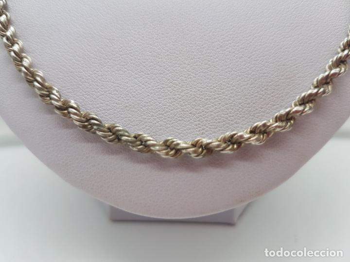 Joyeria: Antigua cadena de cordon trenzado en plata de ley contrastada unisex. - Foto 4 - 174659918