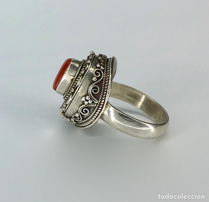 Joyeria: Anillo étnico tibetano de plata 925 y coral rojo - Foto 3 - 148409934