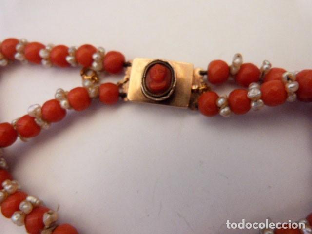 Joyeria: Antiguo collar de coral y perlas naturales - Foto 8 - 51356161