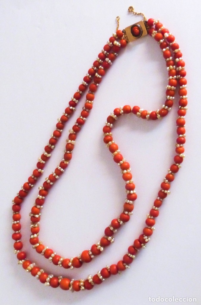 Joyeria: Antiguo collar de coral y perlas naturales - Foto 10 - 51356161