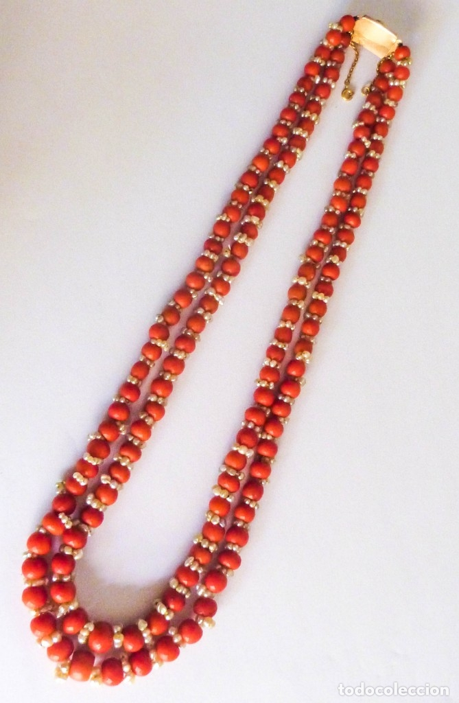 Joyeria: Antiguo collar de coral y perlas naturales - Foto 11 - 51356161