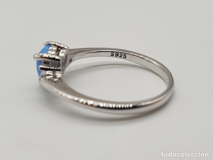 Joyeria: Bella sortija tipo solitario de pedida en plata de ley, circonitas y opalo azul talla corazón . - Foto 5 - 155208324
