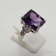 Jewelry - Elegante anillo de estilo art decó laminado en plata de ley, circonitas y amatista talla esmaralda . - 150706165