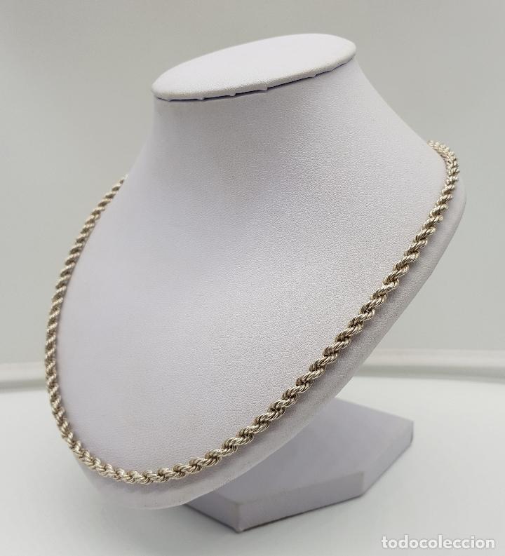 Joyeria: Collar antiguo tipo cadena torneada en plata de ley con contraste, modelo unisex . - Foto 2 - 148569638