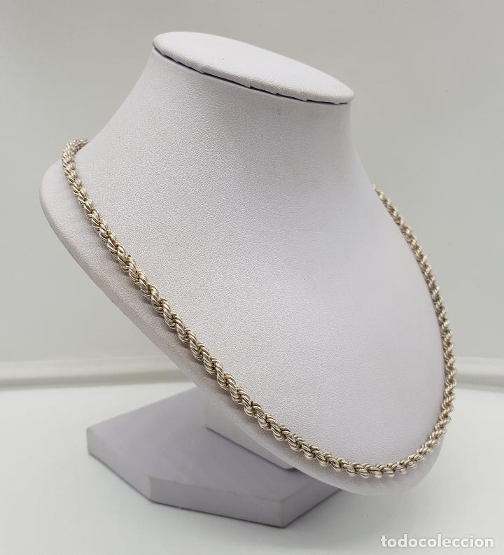 Joyeria: Collar antiguo tipo cadena torneada en plata de ley con contraste, modelo unisex . - Foto 3 - 148569638