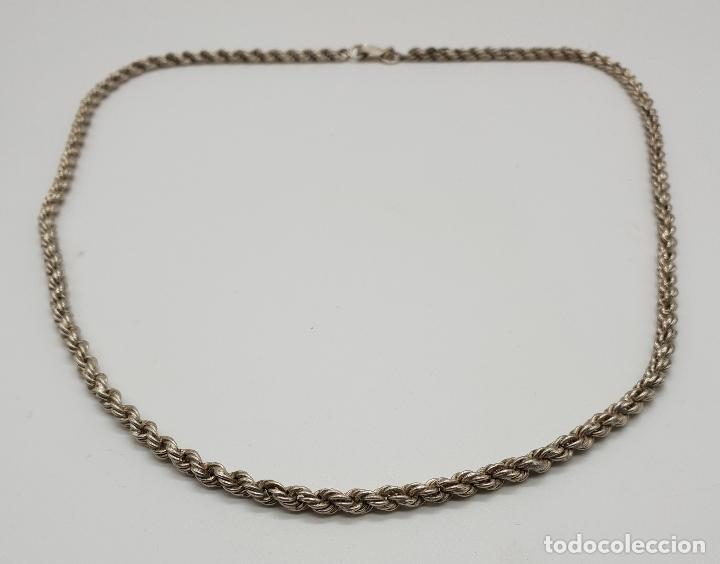 Joyeria: Collar antiguo tipo cadena torneada en plata de ley con contraste, modelo unisex . - Foto 4 - 148569638