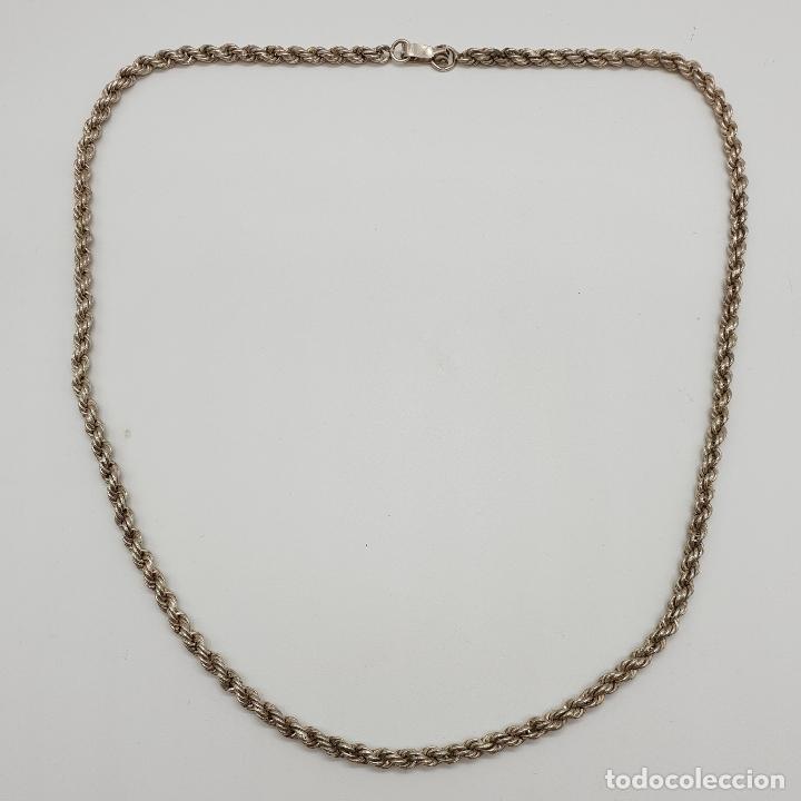 Joyeria: Collar antiguo tipo cadena torneada en plata de ley con contraste, modelo unisex . - Foto 5 - 148569638