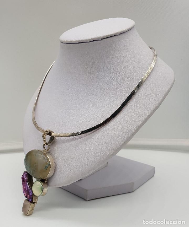 Joyeria: Maravillosa gargantilla en plata de ley contrastada, piedras semipreciosas y perlas barrocas . - Foto 2 - 148583146