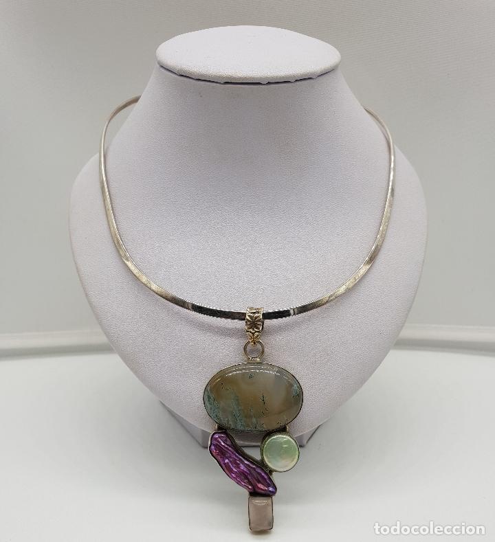Joyeria: Maravillosa gargantilla en plata de ley contrastada, piedras semipreciosas y perlas barrocas . - Foto 3 - 148583146