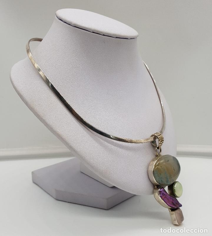 Joyeria: Maravillosa gargantilla en plata de ley contrastada, piedras semipreciosas y perlas barrocas . - Foto 4 - 148583146