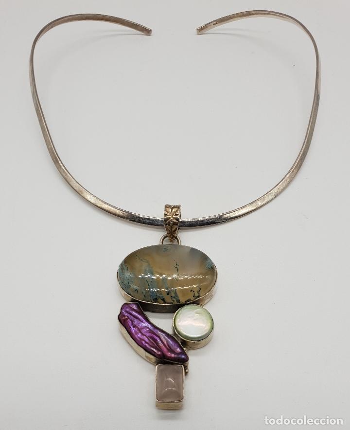 Joyeria: Maravillosa gargantilla en plata de ley contrastada, piedras semipreciosas y perlas barrocas . - Foto 5 - 148583146