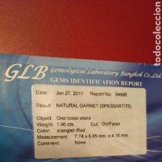 Joyeria: SPESSARTITE NATURAL GARNET 1.96 CTS CON CERTIFICADO. Lote 148597550