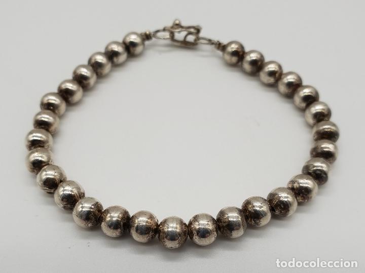 Joyeria: Pulsera antigua en perlas de plata de ley contrastada 950 . - Foto 4 - 148694182