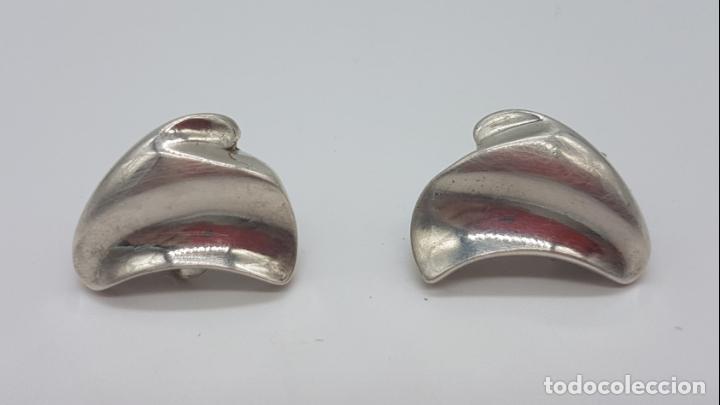 Joyeria: Preciosos pendientes antiguos de diseño modernista en plata de ley contrastada. - Foto 2 - 148834018