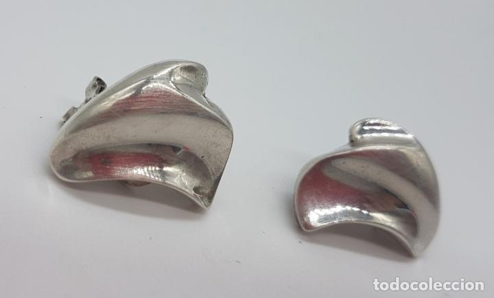 Joyeria: Preciosos pendientes antiguos de diseño modernista en plata de ley contrastada. - Foto 3 - 148834018