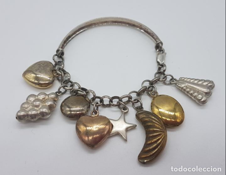 Joyeria: Exclusiva pulsera antigua en plata de ley contrastada con abalorios bañados en oro amarillo y rojo. - Foto 2 - 148837946
