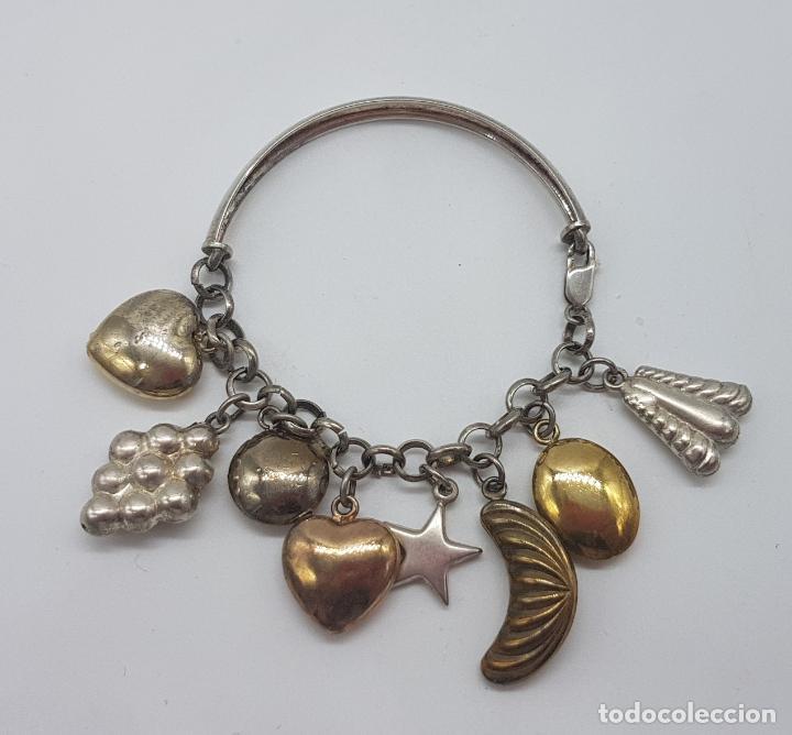 Joyeria: Exclusiva pulsera antigua en plata de ley contrastada con abalorios bañados en oro amarillo y rojo. - Foto 3 - 148837946