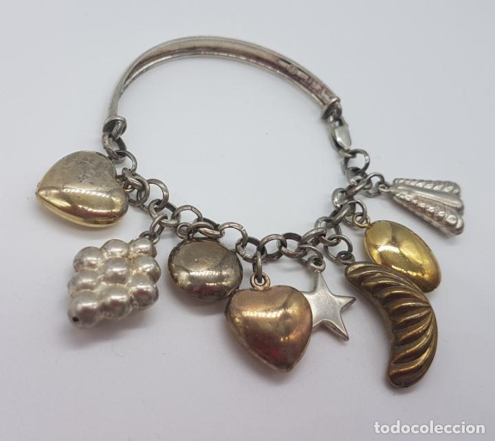 Joyeria: Exclusiva pulsera antigua en plata de ley contrastada con abalorios bañados en oro amarillo y rojo. - Foto 4 - 148837946