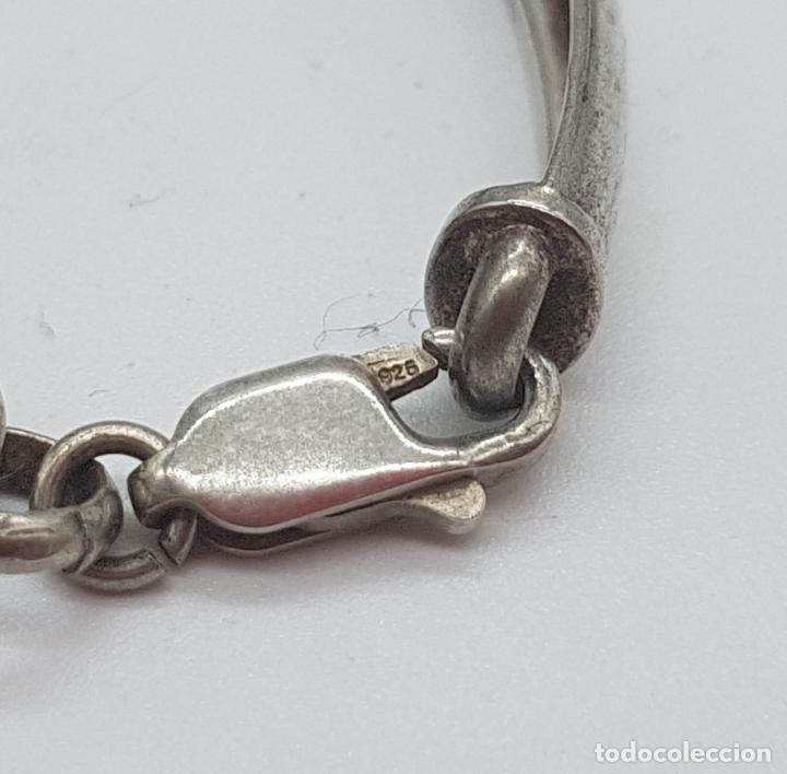 Joyeria: Exclusiva pulsera antigua en plata de ley contrastada con abalorios bañados en oro amarillo y rojo. - Foto 6 - 148837946